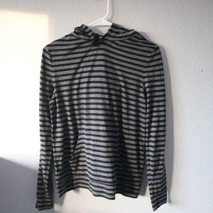 Old Navy Tops - OLD NAVY Black & Grey Striped Hoodie